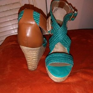 """Shoes - Straw turquoise & brown leather heels 3 1/2"""""""